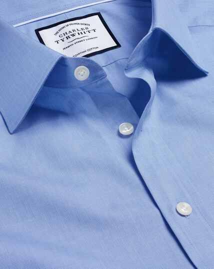 Semi-Cutaway Collar Egyptian Cotton Poplin Shirt - Blue