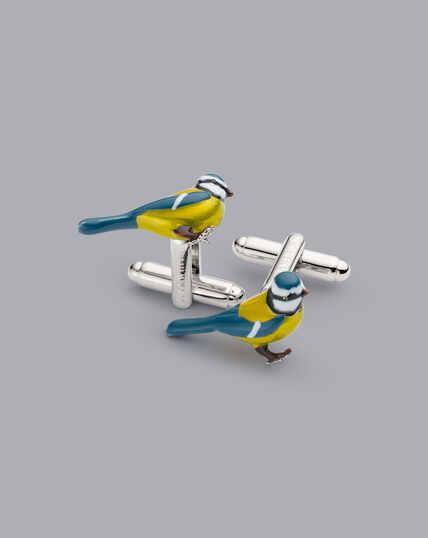 Manschettenknöpfe mit Blaumeisen-Design - Silber