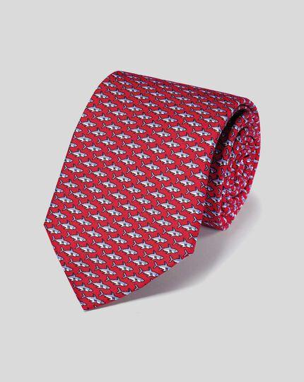 Krawatte aus Seide mit Hai-Print - Rot
