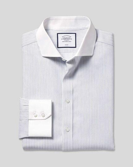 Spread Collar Non-Iron Winchester Stripe Shirt - Blue & White