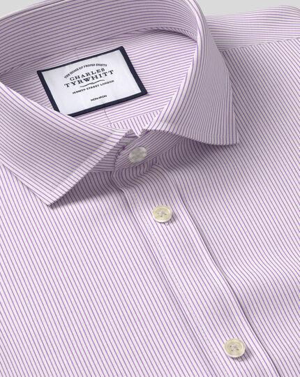 Spread Collar Non-Iron 4 Way Stretch Stripe Shirt- Lilac