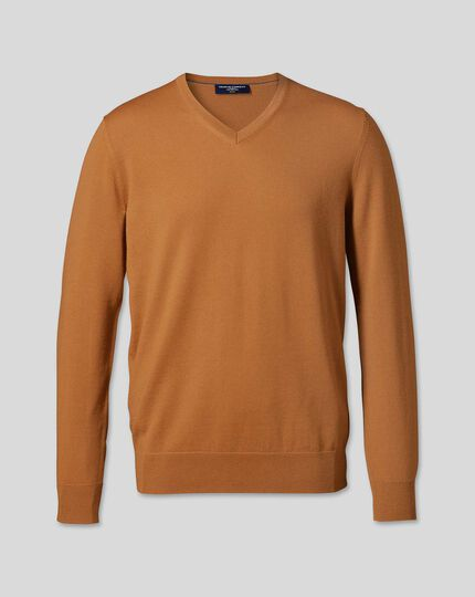Merino V-Neck Jumper - Orange