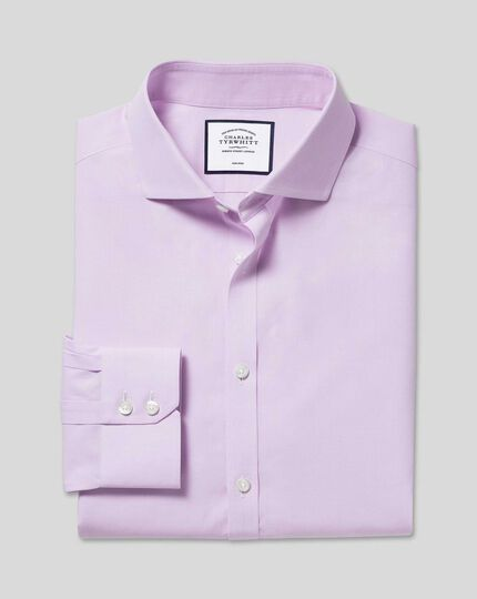 Spread Collar Non-Iron 4-Way Stretch Prince of Wales Check Shirt - Lilac