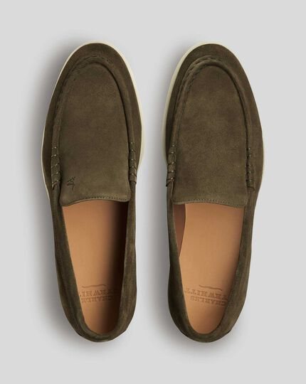 Suede Slip-On Shoes - Olive