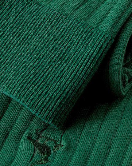 Cotton Rib Socks - Dark Green
