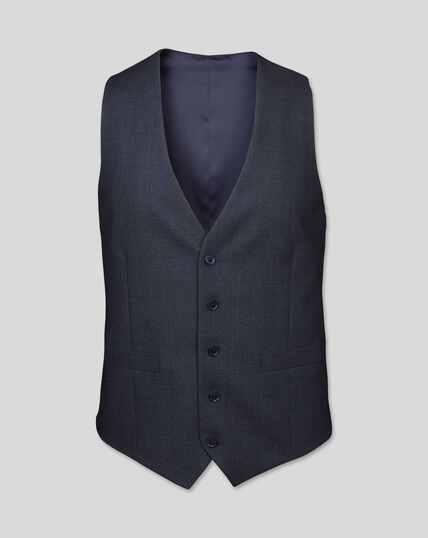 Semi-Plain Suit Vest - Navy