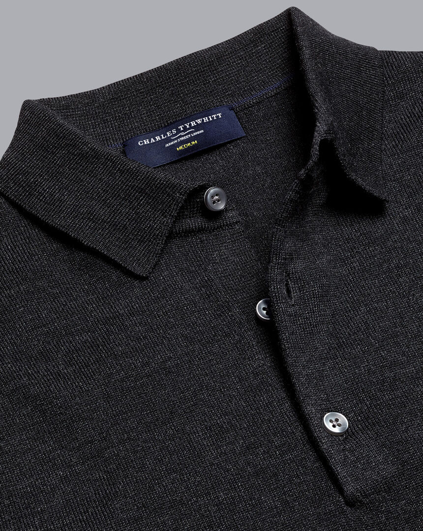 Merino Polo Sweater - Charcoal Grey