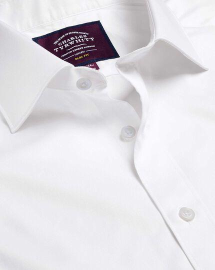 Semi-Spread Collar Luxury Twill Shirt - White