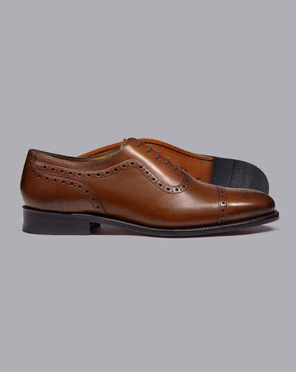 Goodyear Welted Oxford Brogue Shoes - Chestnut Brown
