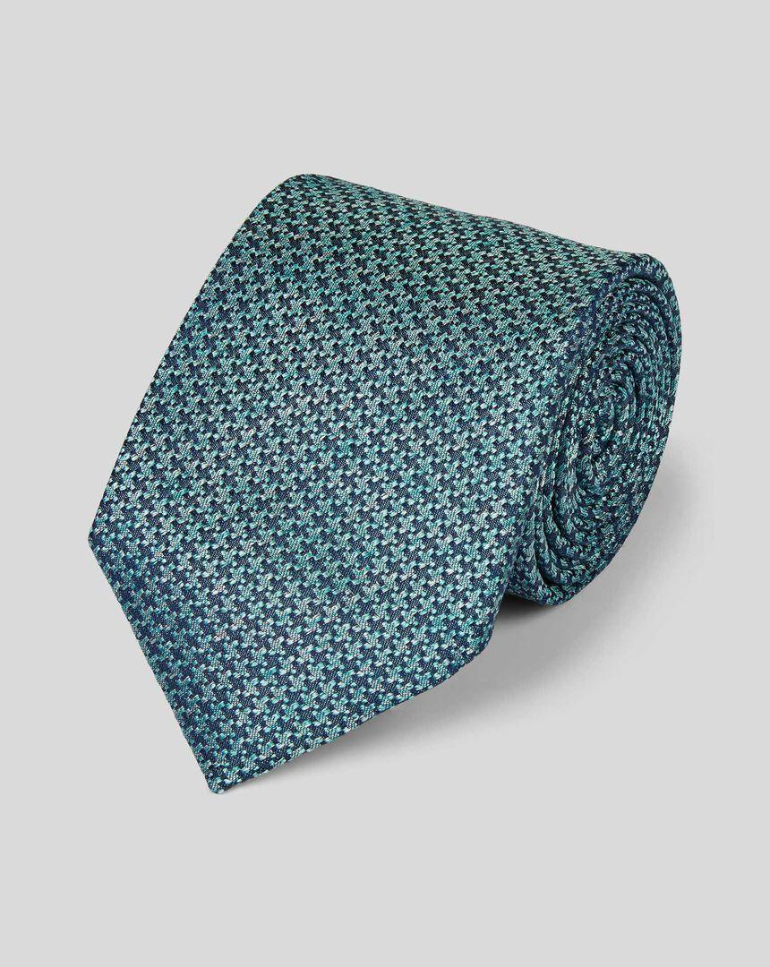 Silk Melange Puppytooth Tie - Green