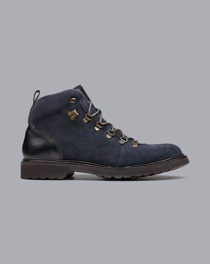 Goodyear Welted Suede Commando Sole Boots - Steel Blue