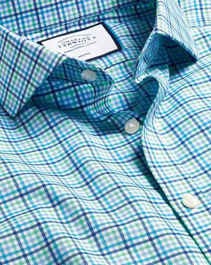 Spread Collar Non-Iron Tyrwhitt Cool Poplin Check Shirt - Blue & Green