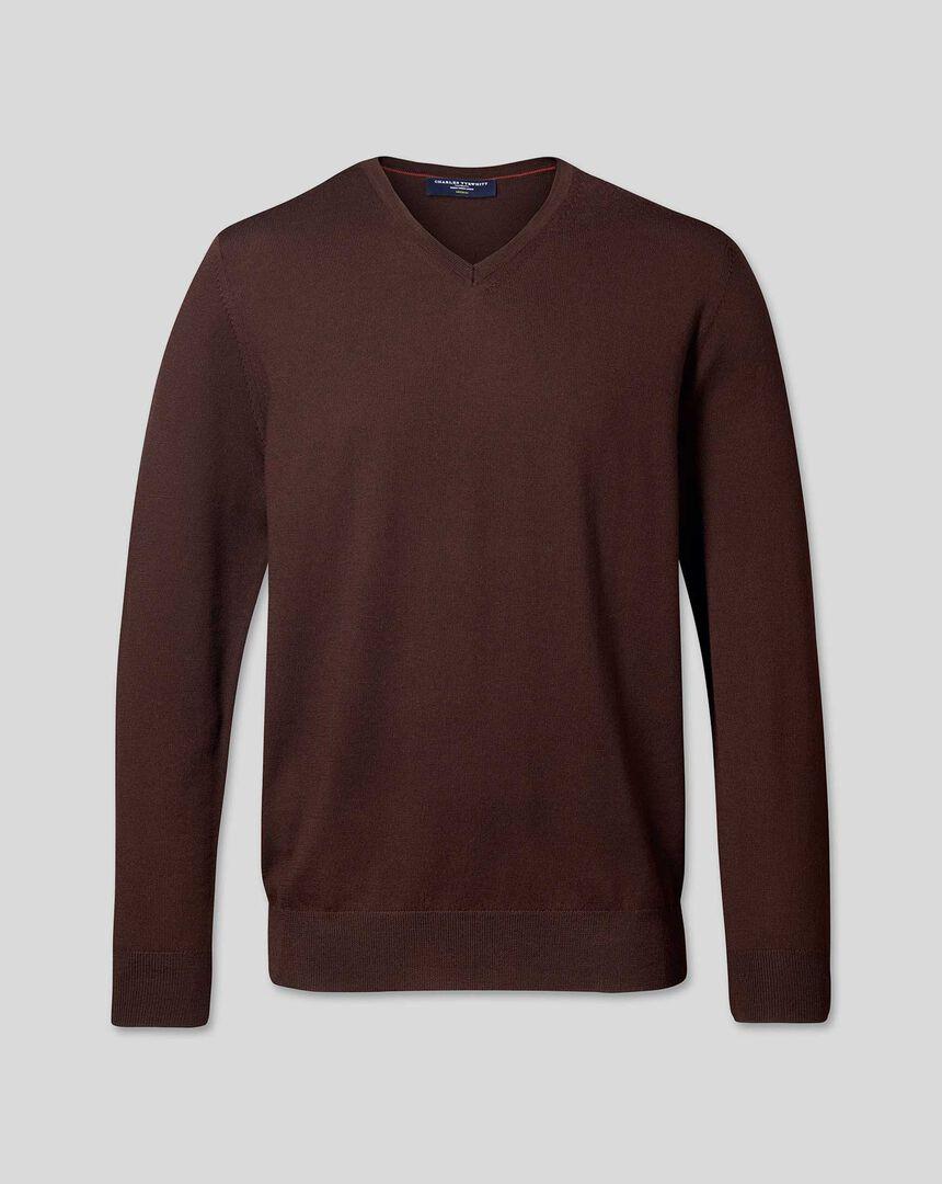 Merino V-Neck Sweater - Dark Brown