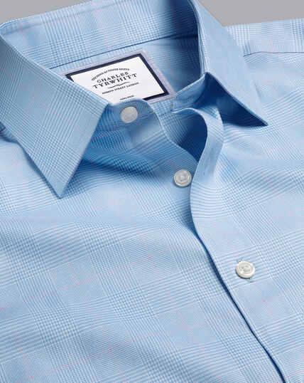 Non-Iron Prince of Wales Check Shirt - Sky & Pink