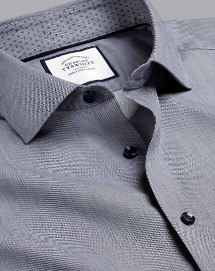 Semi-Cutaway Collar Twill Printed Trim Shirt - Navy