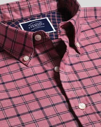 Bügelfreies Twill Hemd mit Button-down-Kragen und Deckkaros - Korallenrot & Marineblau