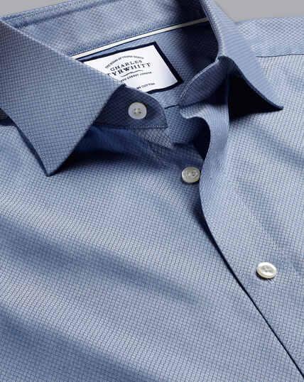 Hemd aus ägyptischer Baumwolle mit Déco-Webart und Semi-Haifischkragen - Blau