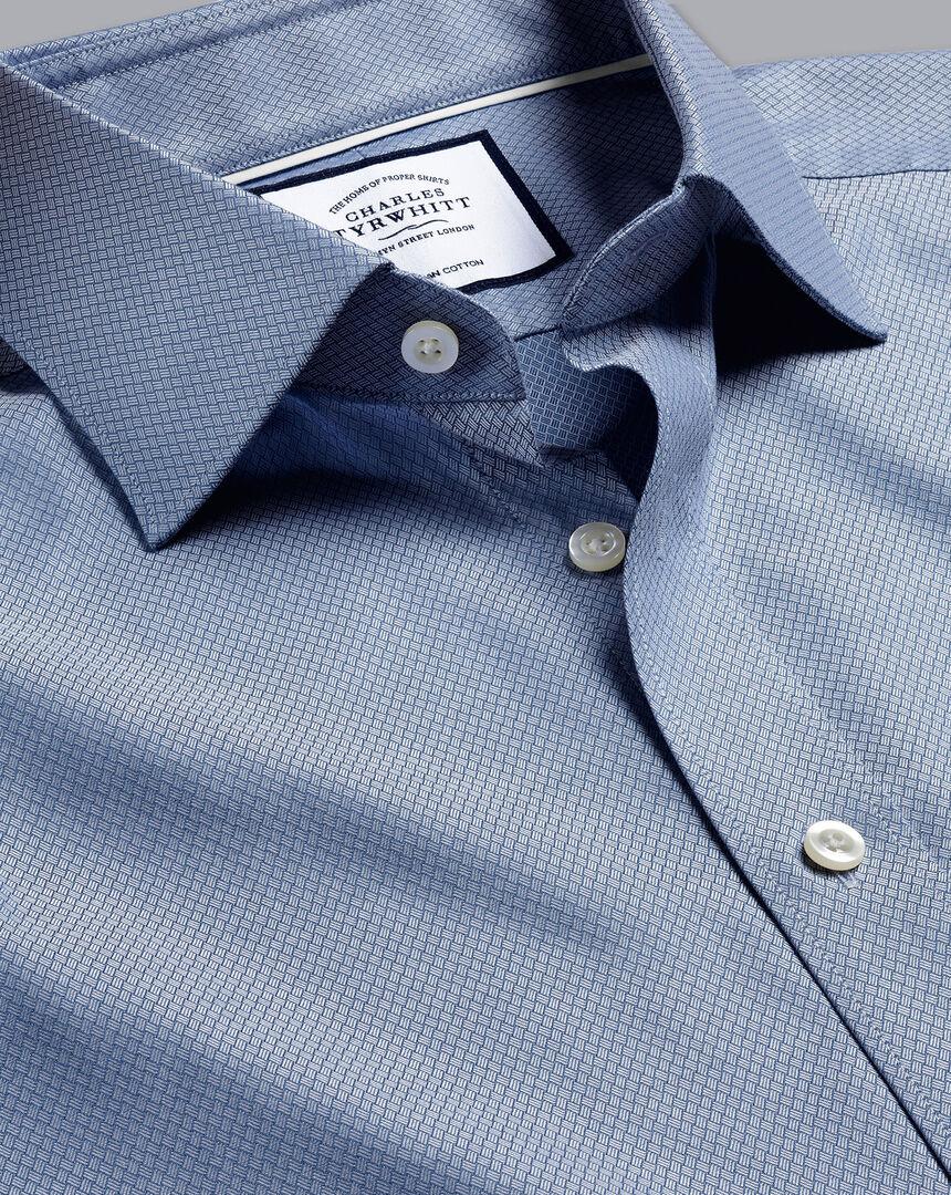 Semi-Cutaway Egyptian Cotton Deco Weave Shirt - Blue