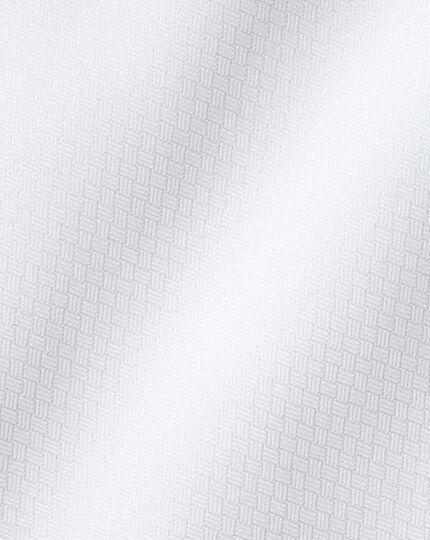 Semi-Spread Egyptian Cotton Deco Weave Shirt - White