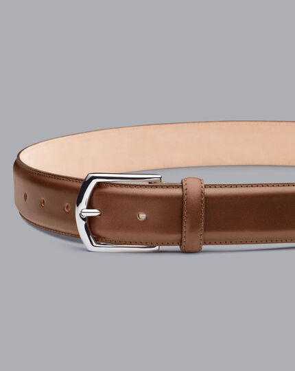 Made in England Leather Formal Belt - Tan