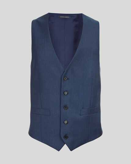 Twill Business Suit Vest - French Blue