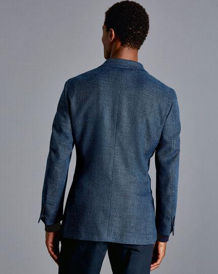Basketweave Textured Jacket - Mid Blue