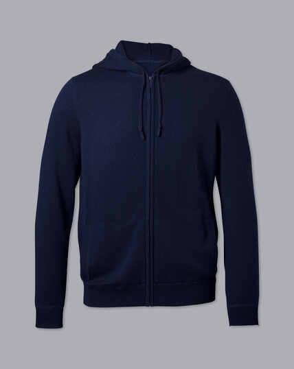 Merino Cashmere Zip Through Hoodie - Navy