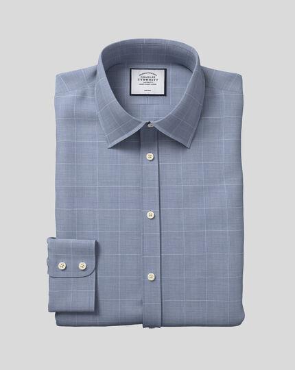 Bügelfreies Hemd aus Baumwolle mit TENCEL™ x REFIBRA™ Technologie, Kent-Kragen und Karos - Marineblau