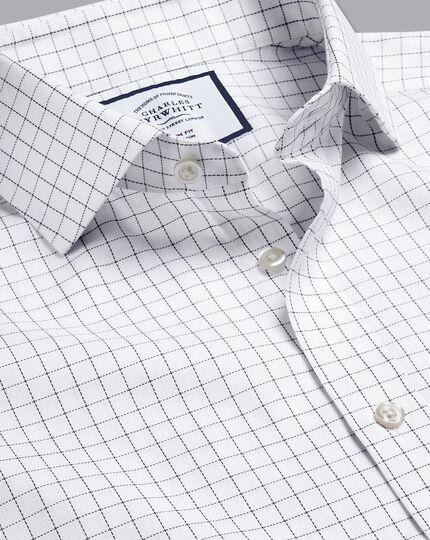 Cutaway Collar Non-Iron Cotton Stretch Check Shirt - White & Blue