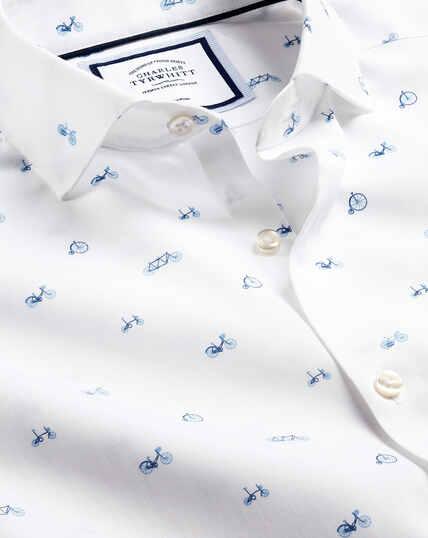 Semi-Cutaway Collar Non-Iron Bicycle Print Shirt - Blue