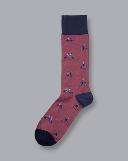 Jacquard Bicycle Motif Socks - Pink