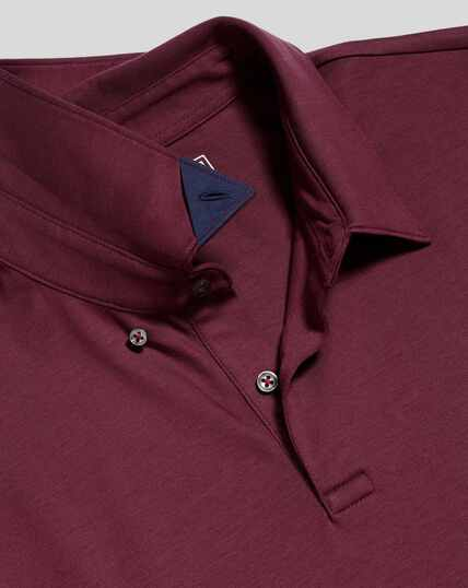 Smart Long Sleeve Jersey Polo - Wine