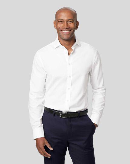Spread Collar Non-Iron Tyrwhitt Cool Poplin Shirt - White