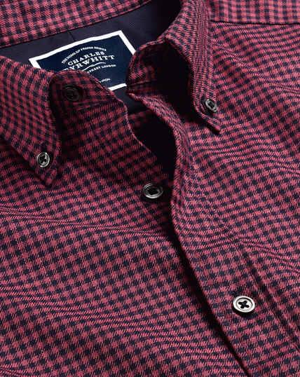 Button-Down Collar Non-Iron Twill Gingham Shirt - Berry & Navy