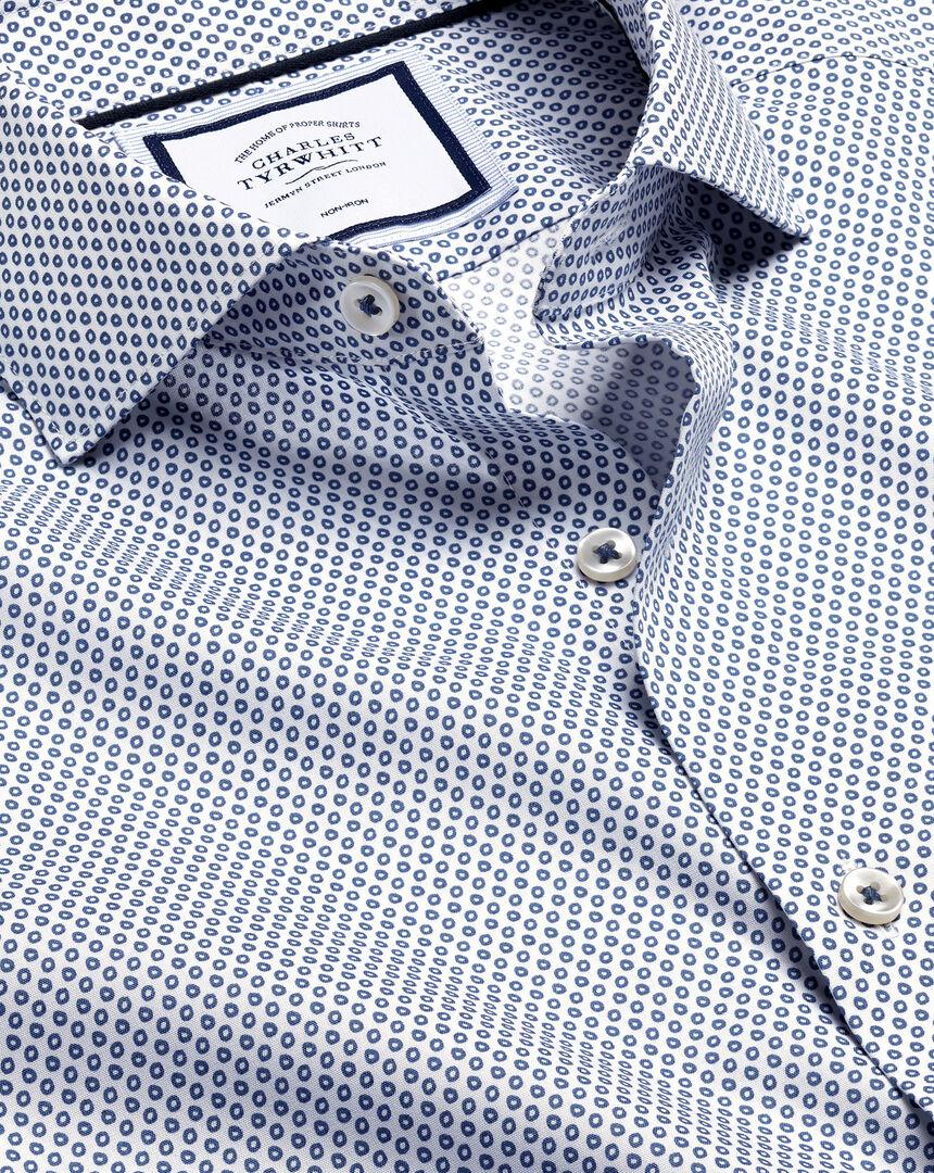 Semi-Spread Collar Non-Iron Hoop Print Shirt - White & Navy