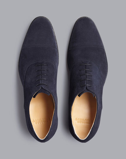 Goodyear Welted Oxford Toe Cap Shoes - Steel Blue