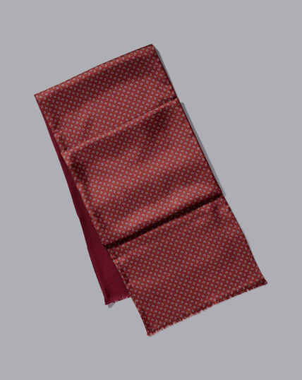 Silk & Wool Paisley Double Faced Scarf - Burgundy