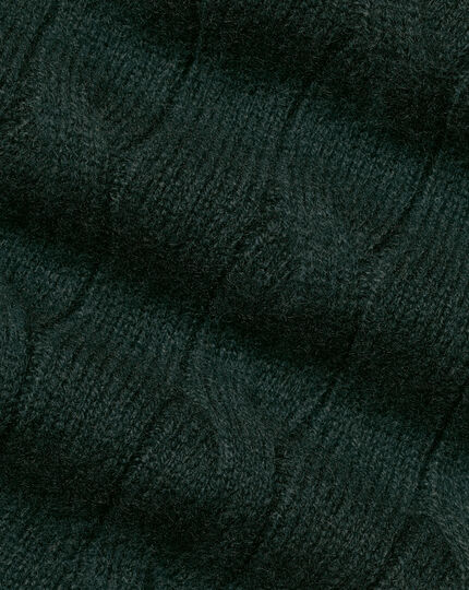 Cashmere Cable Knit Crew Neck Jumper - Forest Green