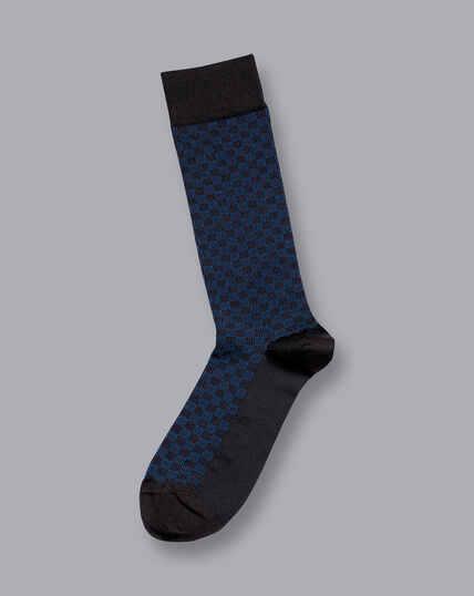 Jacquard Tile Socks - Navy
