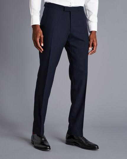 British Luxury Herringbone Suit Trousers - Navy