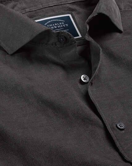 Cutaway Collar Fine Corduroy Shirt - Charcoal