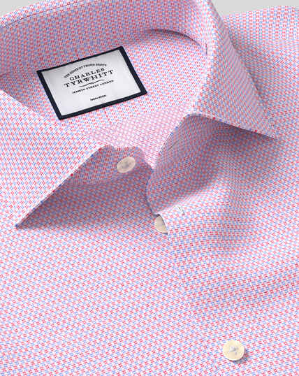 Business Casual Collar Non-Iron Natural Stretch Textured Shirt - Red & Blue