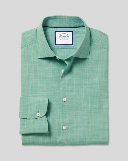 Business Casual Collar Slub Shirt - Green