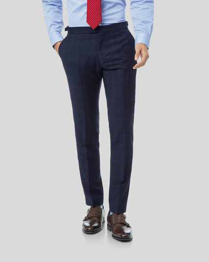 British Luxury Check Suit Trousers - Navy
