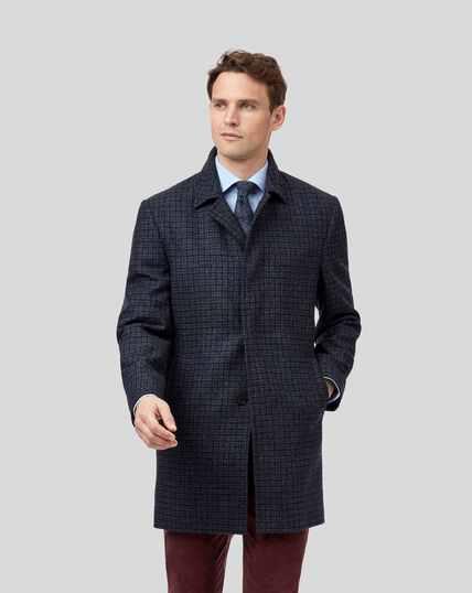 Dogstooth Wool Coat - Grey & Blue