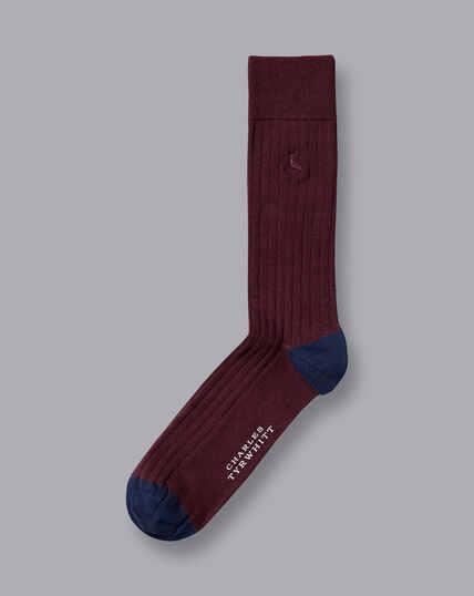 Cotton Rib Socks - Wine
