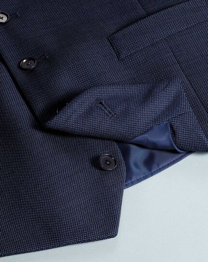 Airforce blue adjustable fit birdseye travel suit waistcoat