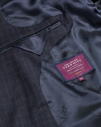 Italian Luxury Twill Check Suit Jacket - Blue