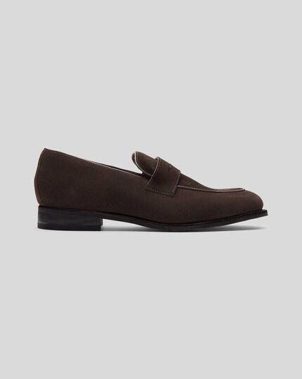 Goodyear Welted Suede Performance Saddle Loafers  - Chocolate
