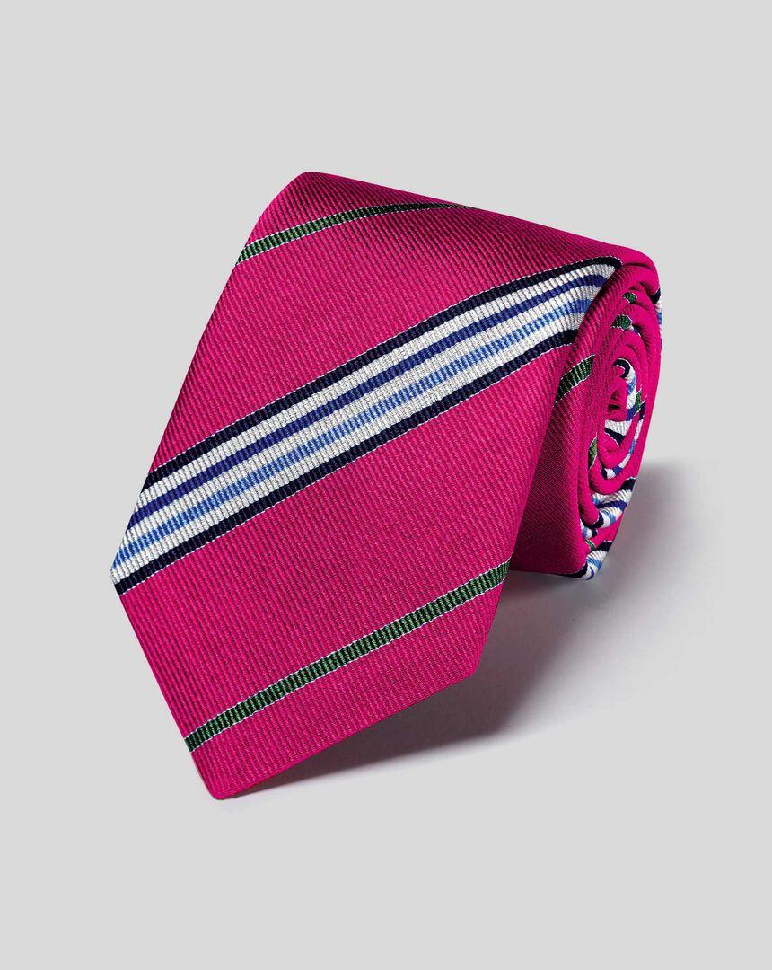 Silk Reppe Stripe English Luxury Tie - Bright Pink